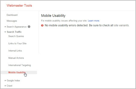 Google Webmaster Tools Mobile Usability Report Screenshot