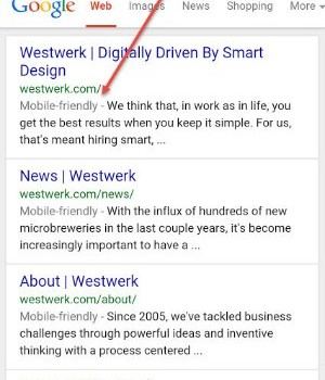 "A mobile screenshot of the ""site search"" function shows that Westwerk's website is mobile friendly."